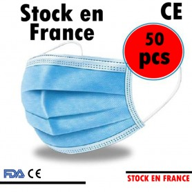 Masques 50 Pcs Jetable - 3 Couches BLEU